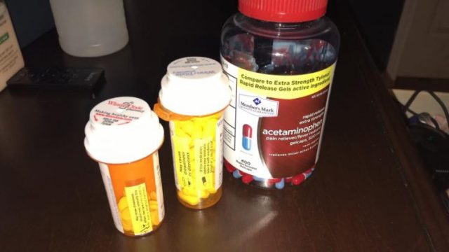 several bottles of over-the-counter painkillers