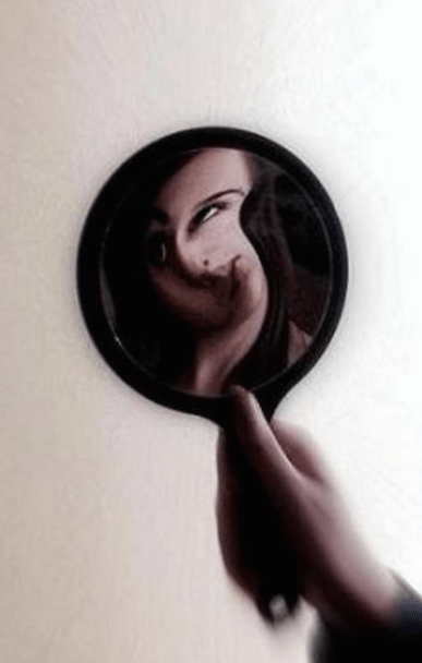 woman distorted mirror