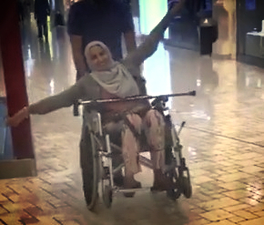 woman sitting in a wheelchair