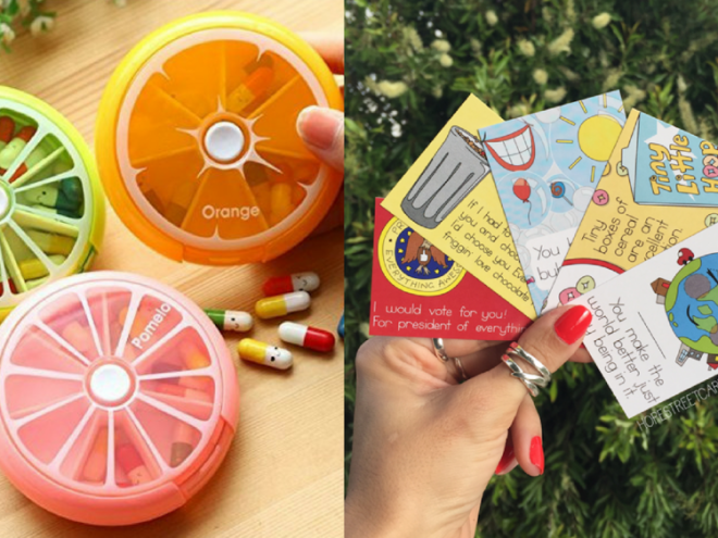 pill case and cards