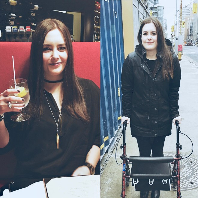 Two photos of the writer. To the left she's holding a drink, to the right she's walking with a walker.