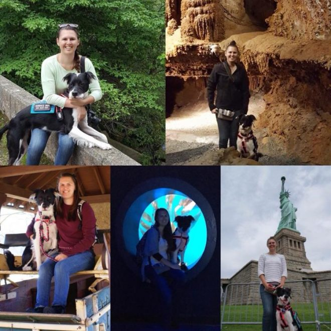 collage of photos of woman in different travel destinations with service dog