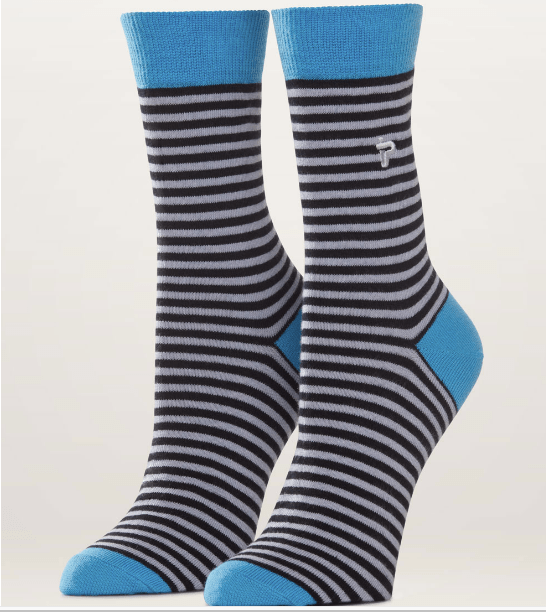 pact apparel black and white striped socks
