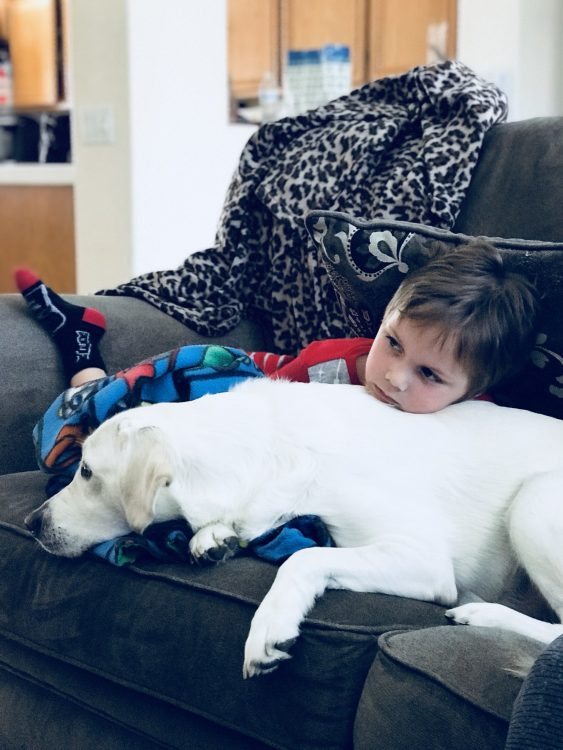 the author's son laying on the couch with his service dog