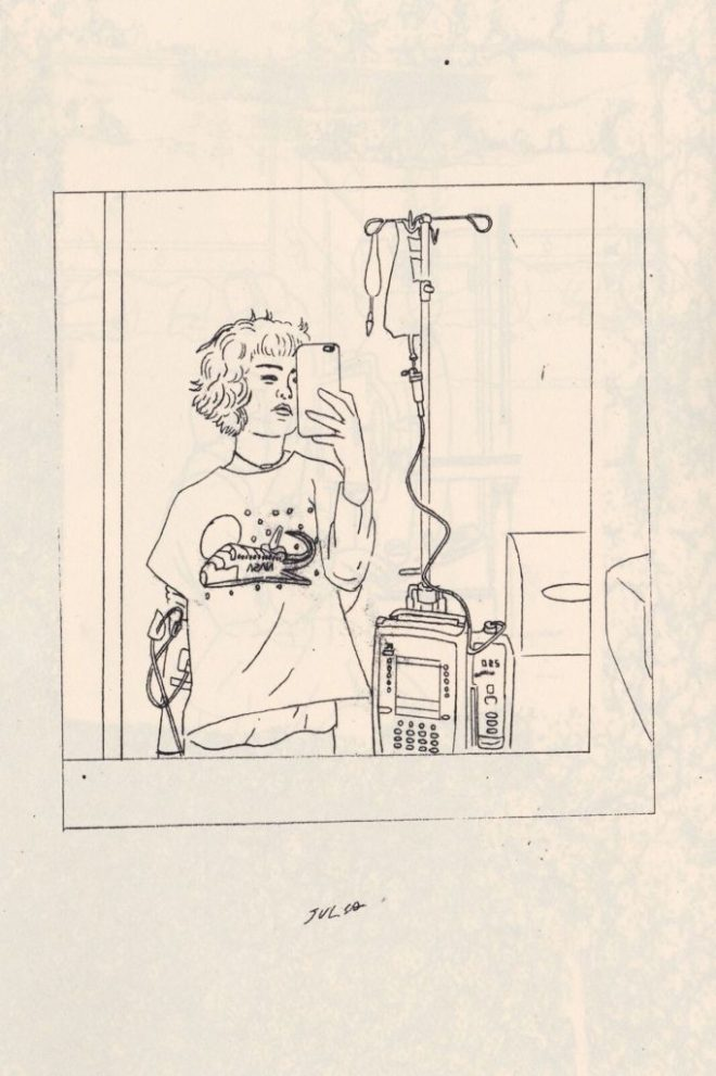 illustration by grant gronewold of a woman taking a selfie. she has short hair, is wearing a t-shirt, and is hooked up to an IV drip and monitors