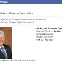 Alan Winde Provincial Minister of Economic OpportunitiesWestern Cape