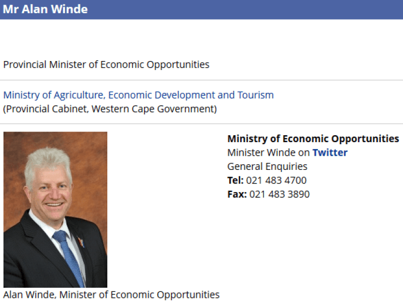 Alan Winde Provincial Minister of Economic OpportunitiesWestern Cape