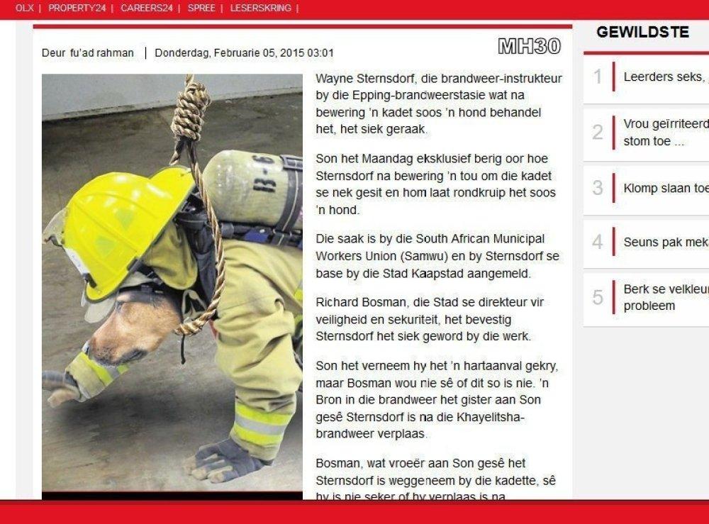 MH30 Die Son article racism fireman Wayne Sternsdorf