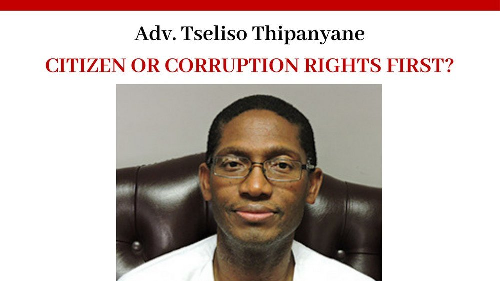Advocate Tseliso Thipanyane Human Rights Commission Democratic Alliance corruption question