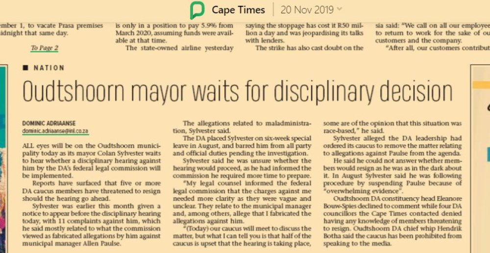 2019.11.20 Cape Times - Oudtshoorn Mayor Waits for DA Disciplinary Decision