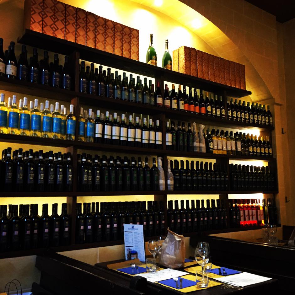 The wine selection at Trattoria Il marinaio