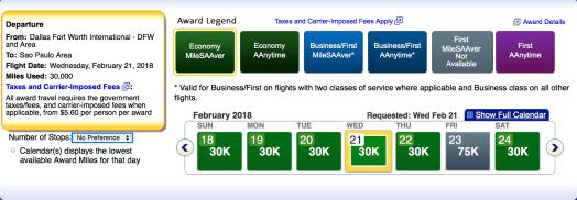 American Airlines AAdvantage award ticket availability, aa economy awards