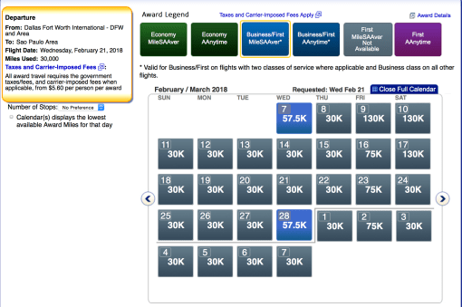 American Airlines AAdvantage award ticket, aa business class with miles