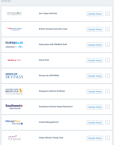 Chase Ultimate Reward Transfer Partners 2018