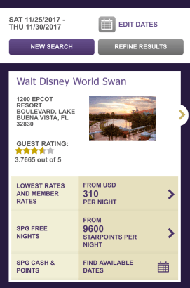 Disney world SPG points