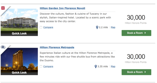 florence on hilton honors points