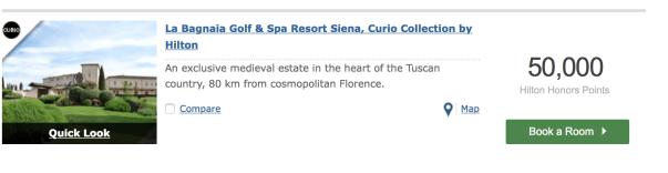 tuscany on hilton honors points