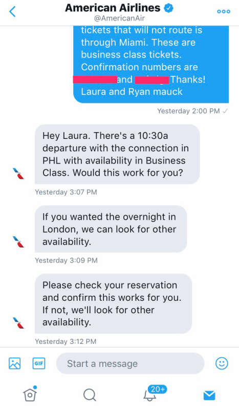 AAdvantage award ticket change on Twitter
