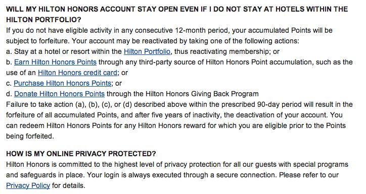 when do Hilton points expire