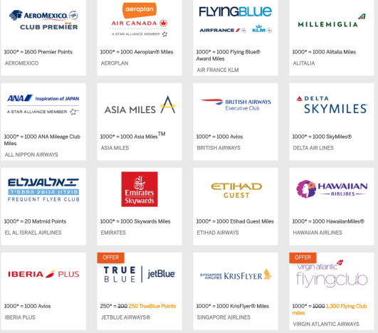 Amex airline transfer partners
