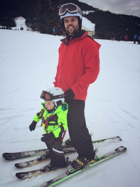 Toddler skiing Whistler, Canada