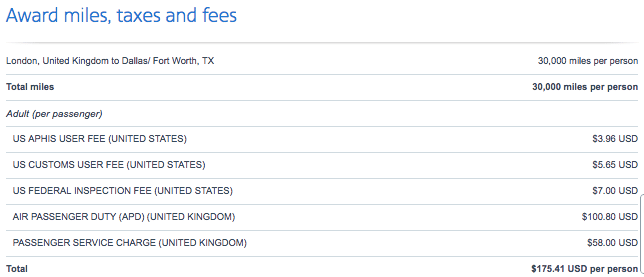 AA London to DFW airport fees