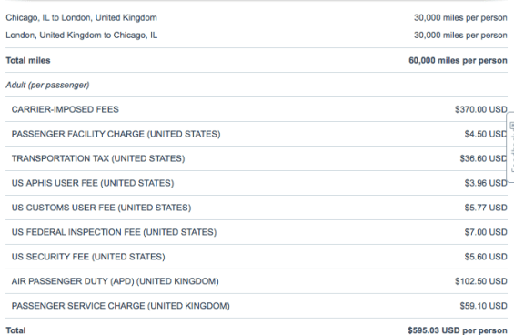 fees on award flights to Europe