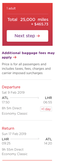 Virgin Atlantic miles fuel surcharges