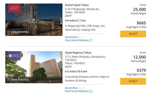 Hyatt in Japan, World of Hyatt points in Tokyo, Chase Ultimate Rewards Japan