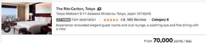Ritz Tokyo Chase Ultimate Rewards
