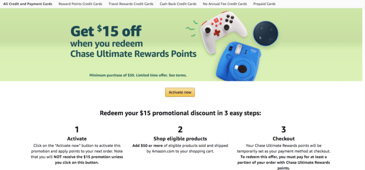 Amazon Chase Ultimate Rewards points