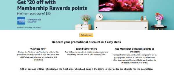 Amex Membership Rewards amazon promotion 20 off 50