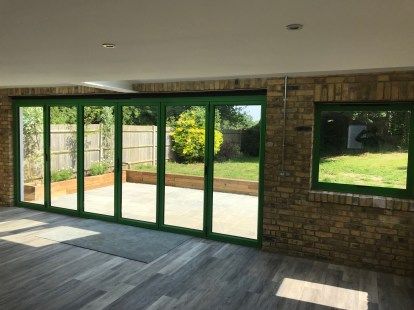 ALUK bi-fold doors in a special RAL colour