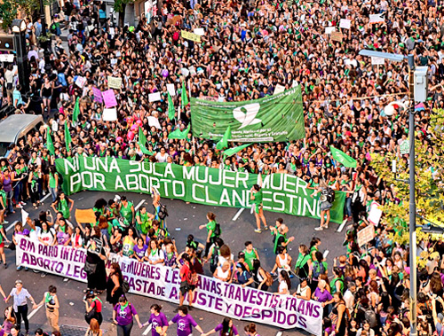 Mass march for abortion rights in Argentina March 8