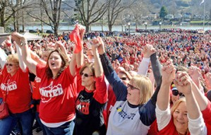 West Virginia teachers, school workers, miners and other supporters at Feb. 26 strike rally in Charleston. Fight won widespread solidarity, taking on aspects of broader social movement.