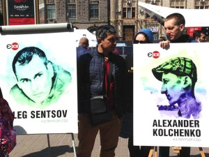 Rally in downtown Kiev, Ukraine, May 11, 2017, demands release of Oleg Sentsov and Alexander Kolchenko, framed up on fake terrorism charges for opposing Moscow's 2014 seizure of Crimea. Sentsov, imprisoned in the gulag in Siberia, launched hunger strike May 14.