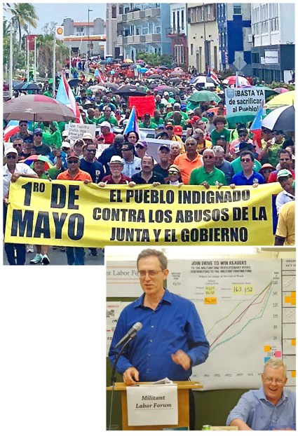 Top right, May Day demonstration, San Juan. Right, Militant correspondent Martín Koppel describes solidarity and reporting trip to Puerto Rico at June 2 New York Militant Labor Forum, along with John Studer, right.