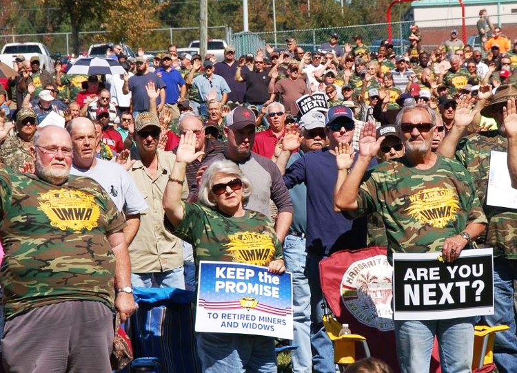 Mine Workers union rally Oct. 14, 2015, Brookwood, Alabama, protests attacks on pensions, health care.