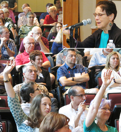 """Inset, SWP leader Mary-Alice Waters at question and answer session, above, on her conference talk, """"Private Property and Women's Oppression: The Working-Class Road to Emancipation."""" Hands in air during lively discussion at the session, including an exchange on Waters' explanation that the #MeToo exposés by prominent Hollywood performers are not a step forward in fight for women's emancipation."""