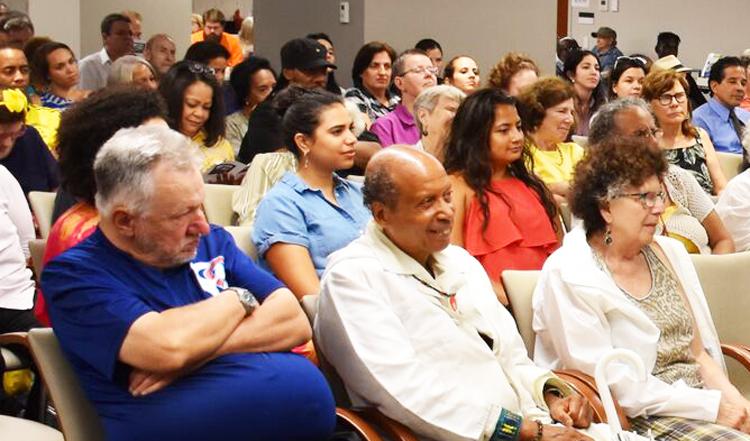 Inset, Ana Silvia Rodríguez, Cuban deputy ambassador to U.N., speaks at July 27 meeting in New York celebrating assault on Moncada Barracks that began Cuban Revolution.