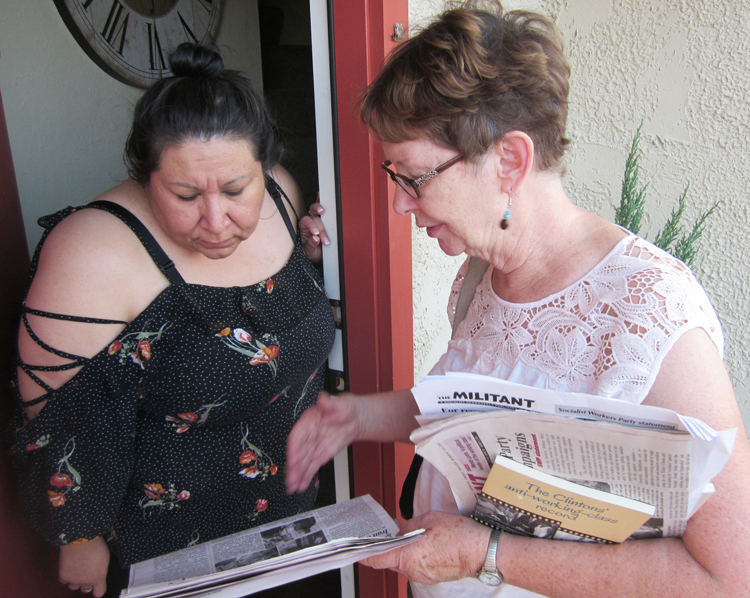 SWP candidate for US Senate Alyson Kennedy, right, discusses fight against police brutality, for amnesty for workers without papers with Victoria Dominguez in Waxahachie, Texas, July 30.