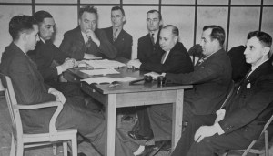 """Above, Carl Skoglund, at head of table, in leadership meeting of Teamsters Local 544, November 1937. """"Skogie"""" was communist, revolutionary fighter and labor militant all his life. Inset, Skoglund, left, with SWP leader James P. Cannon, 1949."""
