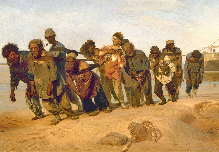 """Ilya Repin's painting """"Barge Haulers on the Volga"""" (1870-73), discussed in article by Morson. Inset, Leo Tolstoy (1828-1910), who wrote War and Peace and Anna Karenina."""