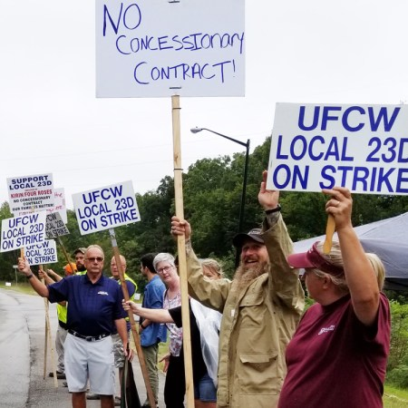 Unionists picket Four Roses plant in Cox's Creek Sept. 8.