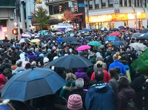 Overflow crowd at Pittsburgh vigil called by students at Taylor Allderdice High School Oct. 27.