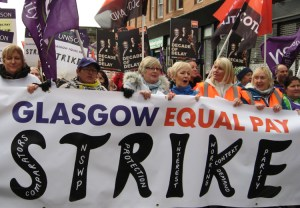 School cleaners, cooks, home-care workers, other local council workers in Glasgow, Scotland, on strike Oct. 23. The working-class struggle for emancipation in the U.K. can only be fought and won inside the capitalist nation-state there. U.K. workers and their allies in the countryside need to fight to establish a workers and farmers government.