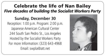Celebrate the life of Nan Bailey