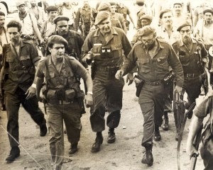 José Ramón Fernández, center, and Fidel Castro, to his left, at Play Girón, April 1961. Fernández commanded main column that defeated U.S.-organized mercenary invasion there.