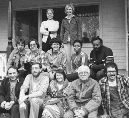 Bailey (arriba) con Andrea Morell en escuela de dirección del PST en 1981. Mike Tucker (izq.) y Sam Manuel (en extremos de fila central); en misma fila (de la izq.), Ilona Gersh, Barbara Graham, Hattie McCutcheon. Abajo (de la izq.), John Gaige, Andy Rose, Arminda Yañez, George Novack, Miguel Pendas.