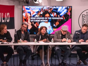 Members of Cuban delegation attending U.N. Women's Month activities speak at March 16 New York meeting. From left, Yenisey González, president of National Union of Cuban Jurists in Granma province; Manuel Vázquez, deputy director of Cenesex, the National Center for Sexual Education; Teresa Amarelle, general secretary of Federation of Cuban Women; Miguel Barnet, president of the Union of Writers and Artists; and Luis Morlote, UNEAC vice president.